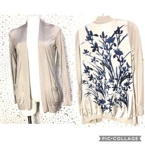 H&M Beige Cardigan With Floral Back